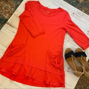 Logo Orange 3/4 sleeve tunic W/pockets & ruffle S